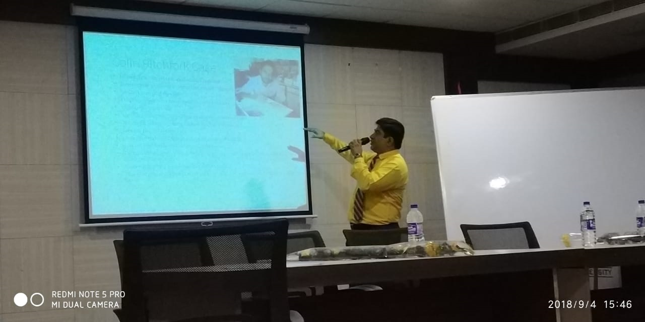 On 4th September 2018, Law Seminar was delivered by Dr.  Souvik Chatterji (HOD, Law)on the subject Expert testimony and use of Forensic Science in Criminal Cases. Colin Pitchfork case was discussed. Use of DNA in criminal investigation was explained.  Daubert principle was explained. Reliability of Forensic Evidence was discussed and determination of time of Death was explained.