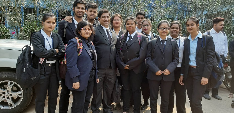 BBALLB and LLB 1st year Students were taken to Barasat District and Sessions Court on 21st February 2019. Cases that were witnessed included forgery cases, cases relating to Outraging Of modesty, cases of theft, extortion, trespass, simple hurt, grievous hurt, culpable homicide not amounting to murder.The courts that were visited included Civil Court Junior Division, District Judges Court, Civil Court Senior Division, Sessions Court, POCSO court, 1st Class Magistrates Court, Court of Chief Judicial Magistrate. Students also witnessed Remand Proceedings in the 2nd hour. Students have written Reports on the Court Visit. They mentioned the proceedings, the findings, the submissions of Public Prosecutors, Defense Lawyers. Substance of Examination in chief, Cross examination were also mentioned.