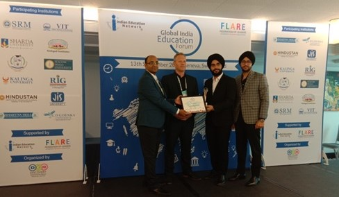 JIS University has been awarded again as the upcoming University /Higher Education Institute from Eastern India for recruiting international students at Geneva, Switzerland by the Global India Education Forum . On behalf of JIS University, Mr. Simarpreet Singh and Mr. Amanjot Singh, Directors of JIS Group received the award.