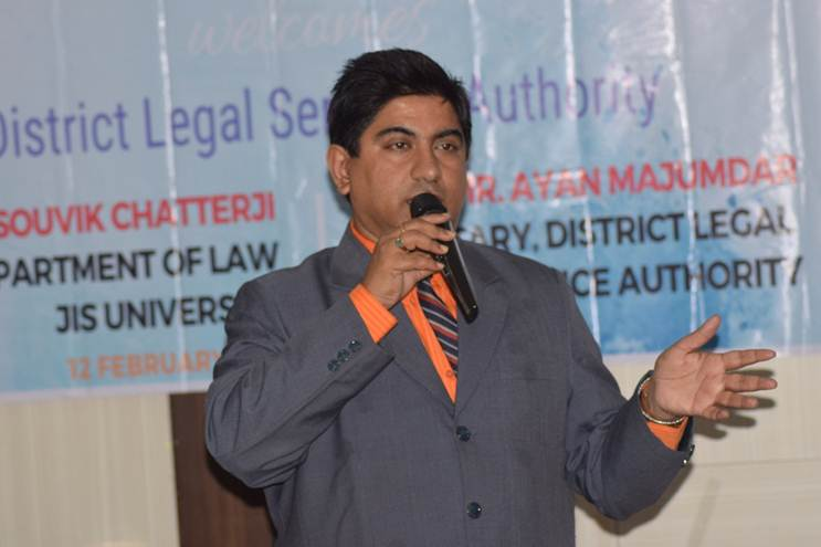 On 12th February, 2019, Legal Aid Camp was held in JIS Auditorium conducted by JIS Legal Aid Society with District Legal Services Authority, North 24 Parganas (Barasat).Dr Souvik Chatterji, HOD, Department of Juridical Sciences, gave presentation on Legal Aid work carried out by JIS Legal Aid Society for the last year in Contai, Digha, Adyapith. Ayan Majumdar, Secretary, District Legal Services Authority, North 24 Parganas with his Team of 8 members gave presentation on criminal cases. Mr Ayan Majumdar showed a video and interview of Trafficking case where he granted Victim Compensation to the Trafficked women.